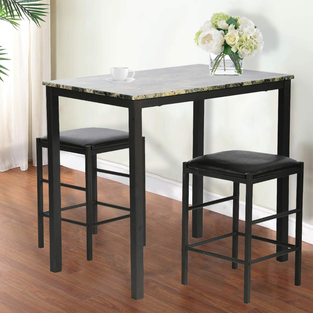 FDW Dining Kitchen Table Dining Set Marble Rectangular Breakfast Wood Dining Room Table Set Table and Chair for 2,Brown by FDW