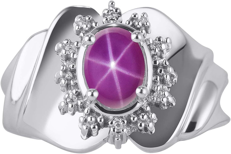 RYLOS Anillo para mujer con piedra preciosa ovalada y diamantes brillantes genuinos en oro blanco de 14 quilates – 7 x 5 mm