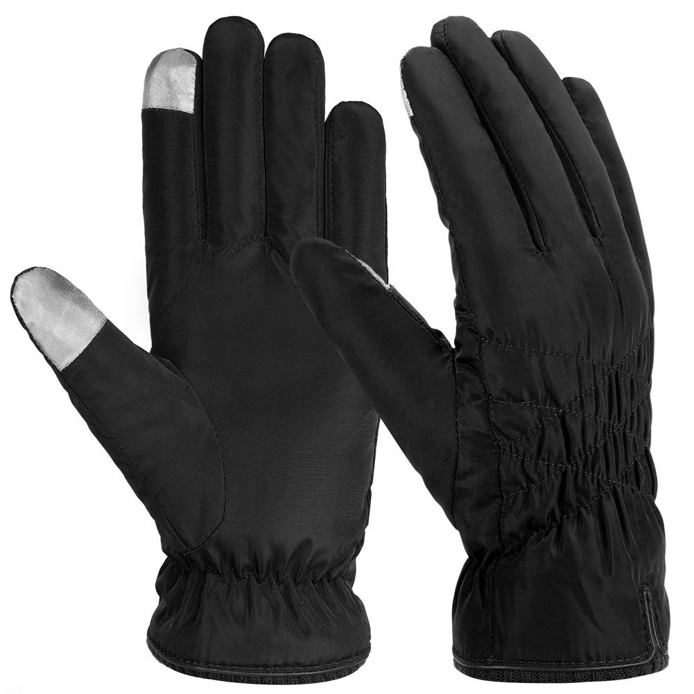 Vbiger Women Warm Gloves Waterproof Winter Gloves Touch Screen Gloves with Thick Fleece Lining, Perfect for Skating, Skiing and Shopping (Black)