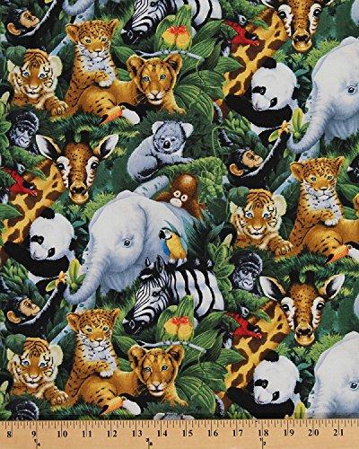 Safari Koala (Cotton A Rare Occasion Baby Safari Jungle Animals Elephant Cub Koala Gorilla Parrot Panda Zebra Giraffe Cotton Fabric Print by the Yard (AL-2016-3C-1))