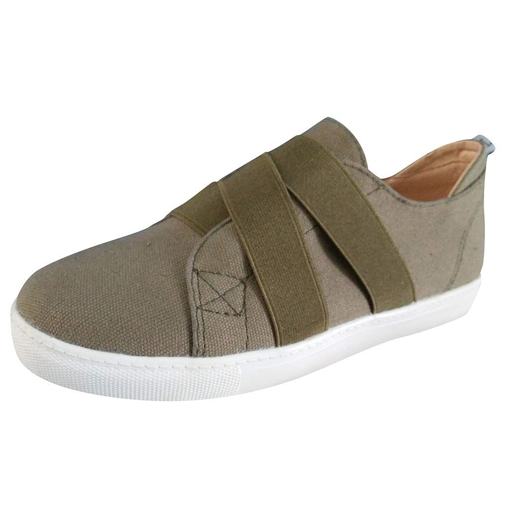 LIM&Shop Summer Loafers Casual Slip On Strappy Canvas Shoes Driving Moccasins Breathable Flat Layered Beach Sandals Khaki by LIM&SHOP-Sandals & Sneakers