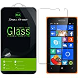 Lumia 435 Glass Screen Protector, Dmax Armor Microsoft Lumia 435 Screen protector [Tempered Glass] Ballistics Glass, 99% Touch-screen Accurate, Anti-Scratch, Anti-Fingerprint, Round Edge [0.3mm] Ultra-clear [1 Pack]- Retail Packaging