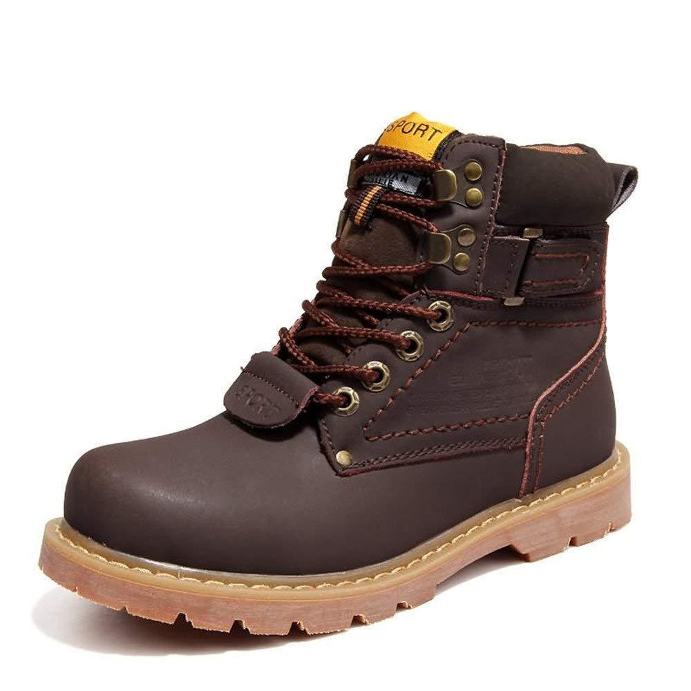 Oudan Herren Martin Stiefel sind Casual und britischen Stil High-Top-Baumwoll-Stiefel mit Volltonfarbe (Farbe   Gold, Größe   43 EU) (Farbe   Dark braun, Größe   42 EU)
