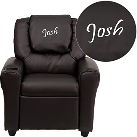 Flash Furniture Personalized Brown Leather Kids Recliner with Cup Holder and Headrest  sc 1 st  Amazon.com & Amazon.com: Flash Furniture Personalized Brown Leather Kids ... islam-shia.org