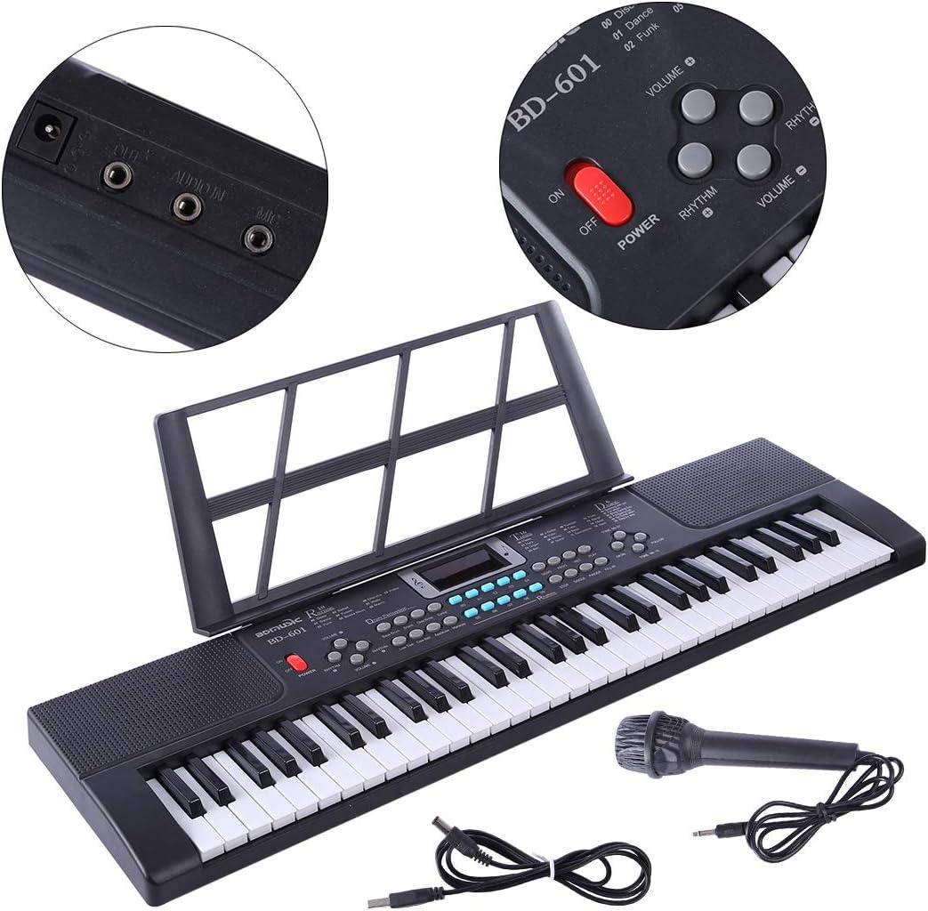 LVPY Piano Jouet, Clavier Electronique 61 Touches Piano Enfants Clavier avec Microphone- Keyboard Piano pour Débutants Cadeau- Noir