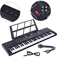 Yvsoo Teclado Electrónico Infantil, 61 Teclas Teclado de Piano con Micrófono Instrumentos Musicales Infantiles Música Regalo Educativo para Niños - 3768 (Negro)