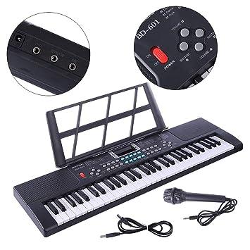 YAKOK Piano Infantil, 61 Teclas Electrico Piano Bebe Teclado con Microfono Juguetes Musicales para Niños
