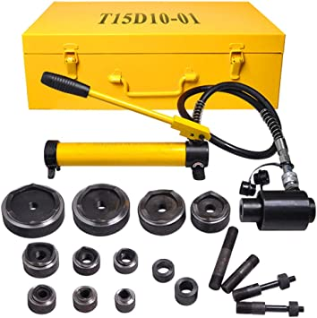 15 Ton 1//2 to 4 Hydraulic Knockout Punch Driver Kit Hole Complete Tool 10 Dies 11 14 Gauge Tool Metal Case Yellow