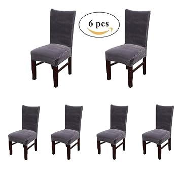 Amazon Com My Decor Dining Chair Covers Velvet Spandex Fabric