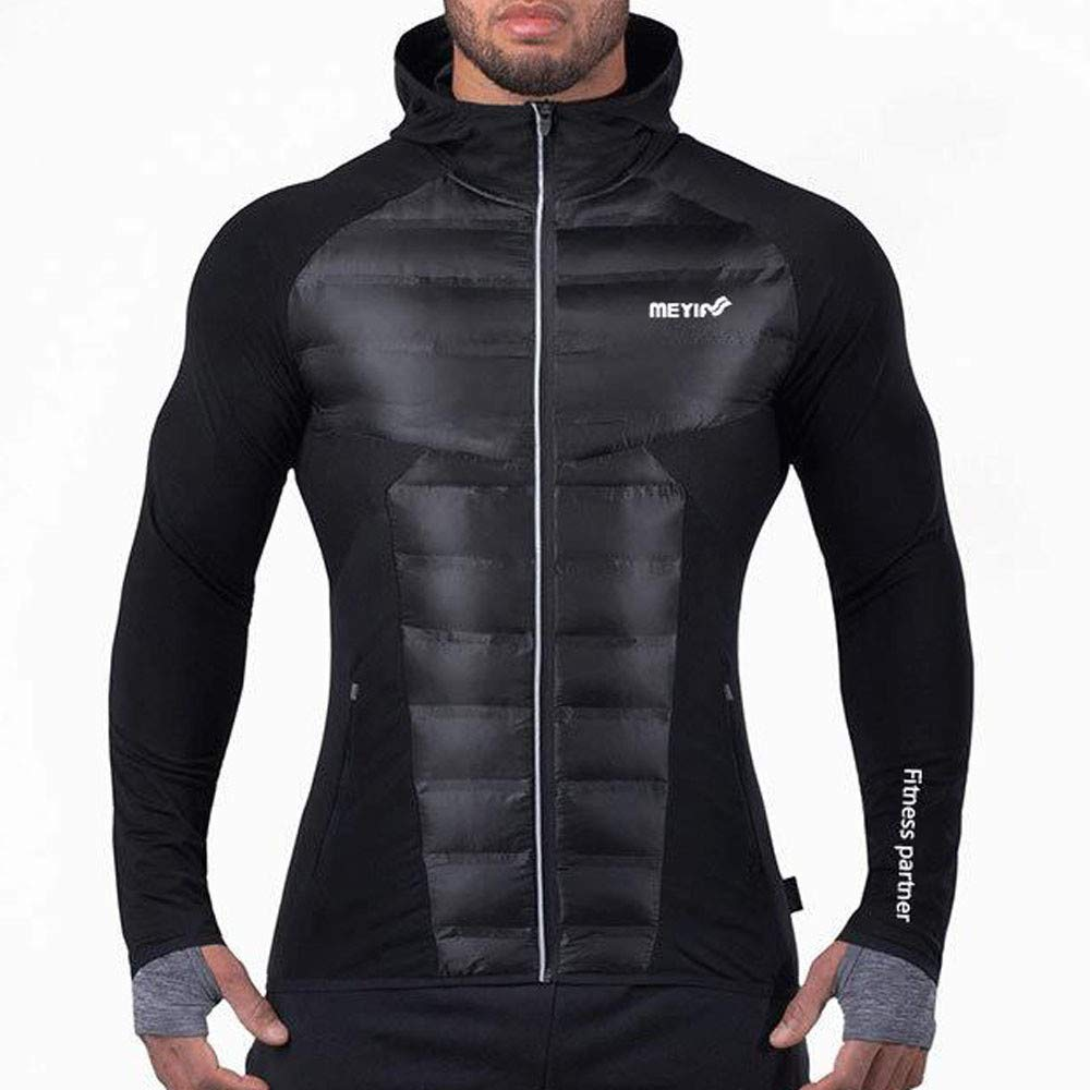New Men's Winter Warm Hoodie Coat Fitness Sports Padded Cotton Clothes Fashion Slim Long Sleeve Outwear