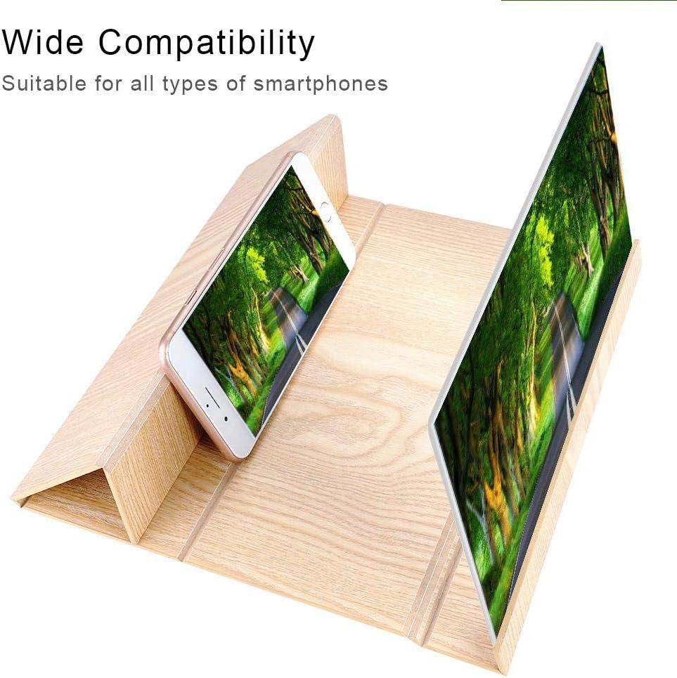 Marron 12 Pouces Agrandisseur /Écran pour Tout Type de T/él/éphone Portable Loupe d/écran 3D Smartphone Amplificateur d/écran en Bois L/éger