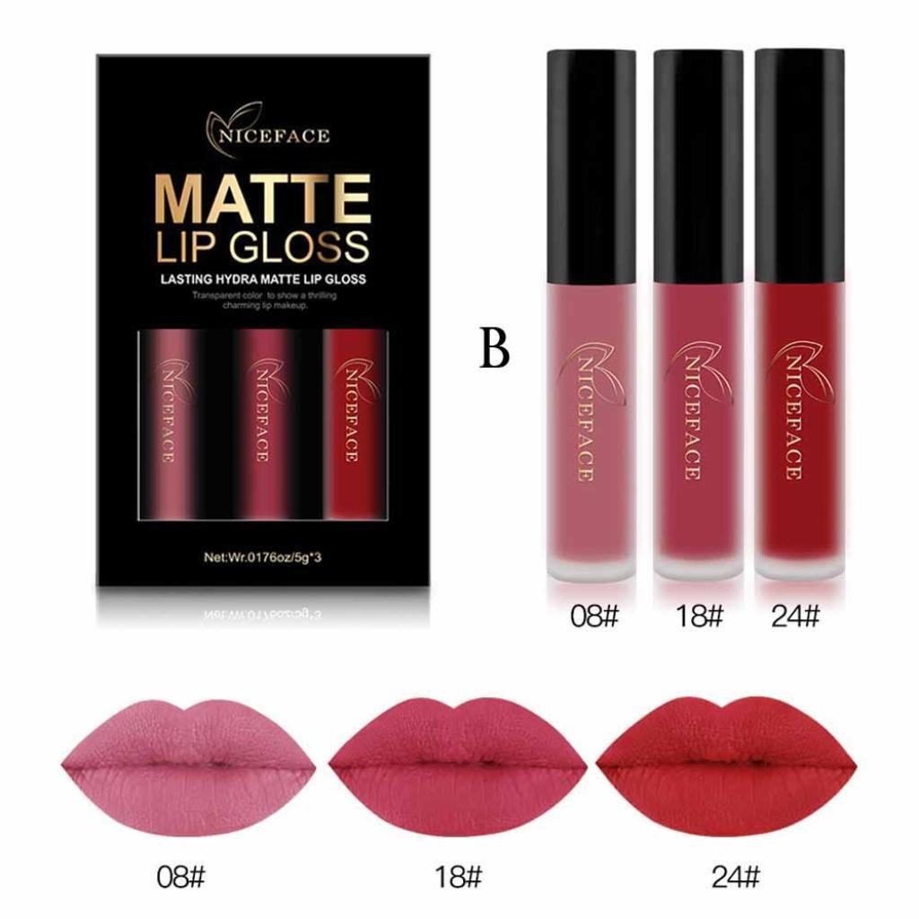 ❤️ ❤JPJ(TM) 3 Colors Women Matte Lipstick Set,Ladies Sexy Charming Waterproof Matte Liquid Lipstick Long lasting Lip Cosmetic Lip Gloss Kit Lip Makeup Best Decoration On Your Lips (B)