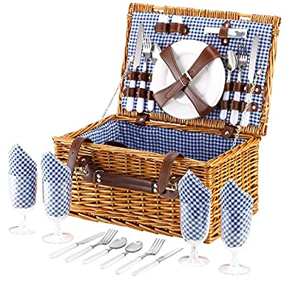 VonShef 4 Person Wicker Picnic Basket Hamper Set with Flatware, Plates and Wine Glasses Included Blue Checked Pattern Lining