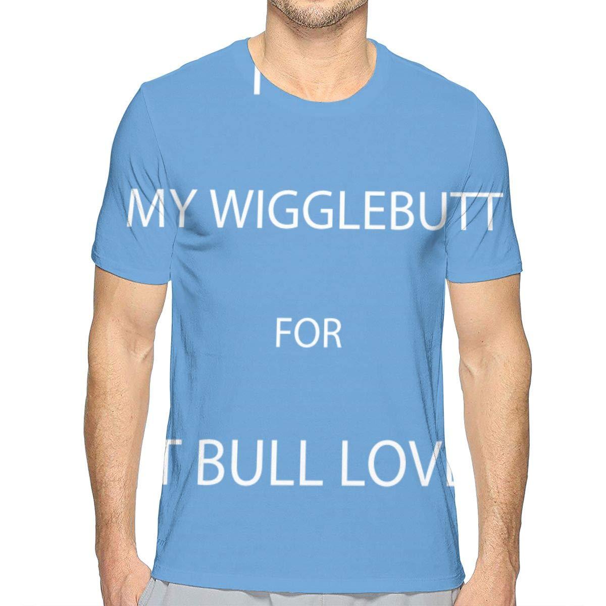 TIMQIJIAN I Love My Wigglebutt for Pit Bull Lover Fan Crewneck Classic Short Sleeve Adult Tees