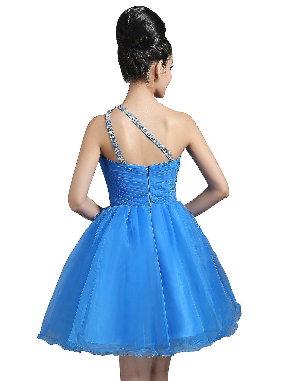 Sara hbridal Vestidos de noche de mujer corta tuell One Shoulder perlas vestido de cóctel ssd262 Azul azul celeste: Amazon.es: Ropa y accesorios