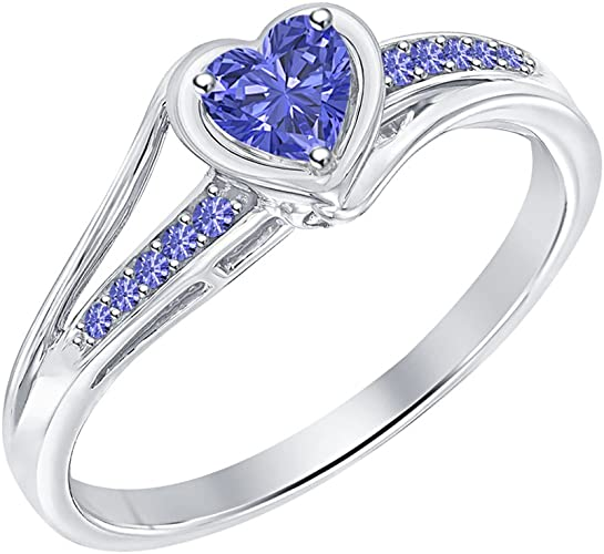 Tanzanite /& Diamond Heart Ring .925 Sterling Silver