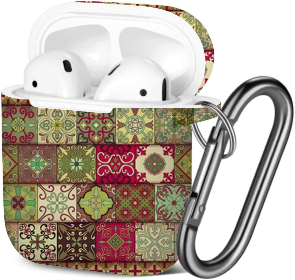 Compatible with AirPods 2 and 1 Shockproof Soft TPU Gel Case Cover with Keychain Carabiner for Apple AirPods Portuguese Tiles Talavera