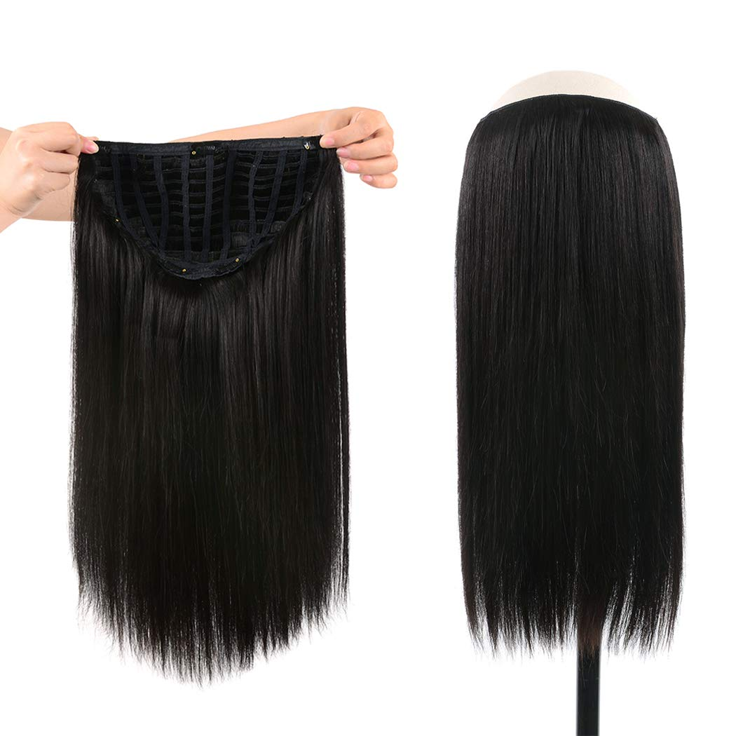 WINSKY 14'' Half Wig Real Human Hair Extensions Clip in For Women - Silky Straight One Piece U-part Short Hair Hairpiece (14inch #1B 100g Natural Black) by Winsky