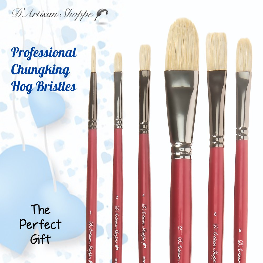 Oil Acrylic Paint Brushes 100% Natural Chungking Hog Hair Bristle in Portable Organizer Plastic Container. 6pc Filbert Flat and Round Paintbrush Set by D'Artisan Shoppe (Image #5)