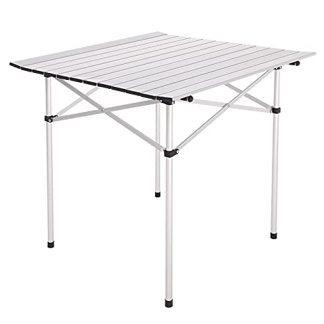Amazon 28x28 roll up portable folding camping square aluminum 28quotx28quot roll up portable folding camping square aluminum picnic table desk w watchthetrailerfo