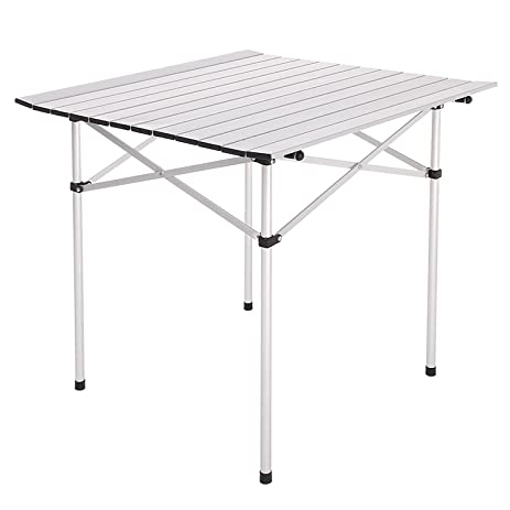 28u0026quot;X28u0026quot; Roll Up Portable Folding Camping Square Aluminum Picnic  Table Desk W/