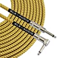 GLS Audio 6 Foot Guitar Instrument Cable - Right Angle 1/4-Inch TS to Straight 1/4-Inch TS 6 FT Brown Yellow Tweed Cloth Jacket - 6 Feet Pro Cord 6' Phono 6.3mm - SINGLE by GLS Audio