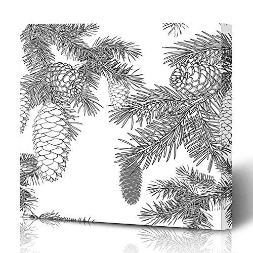 Ahawoso Canvas Prints Wall Art 12x16 Inches Xmas Cedar Merry Christmas Seasonal Lettering Pinecone Plant Holidays Vintage Wood Pattern Branch Decor for Living Room Office Bedroom