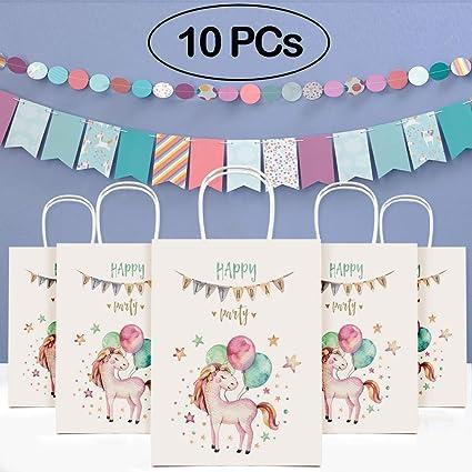 Tacobear 10 Piezas Bolsas Papel Unicornio Bolsa Regalo Bolsa ...