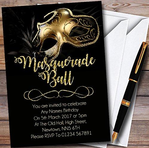 Golden Glitter Mask Masquerade Ball Personalized Party Invitations -