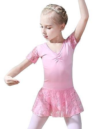 076fe29490563 Happy Cherry Robe de Danse Ballet Classique Fille Justaucorps à Manches  Courte en Dentelle Lace Orné de Replis sur la Poitrine 4-12ans  Amazon.fr   Vêtements ...