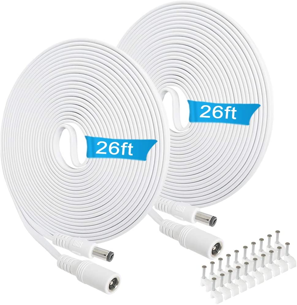 12v DC Extension Cord 26ft,5.5mm x 2.1mm Extension Cable Flat 12 Volt Power Supply Adapter for CCTV Security Camera Surveillance Indoor Wireless IP Camera Dvr Standalone LED Strip,Car,Male to Female