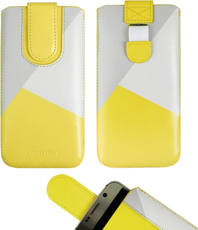 Emartbuy Amarillo/Gris Cuero Premium PU Deslizar en Funda Case Tipo Bolsa (Talla LM5) con Mecanismo de Lengüeta Adecuado para Teléfonos Inteligentes Que Figuran a Continuación: Amazon.es: Electrónica