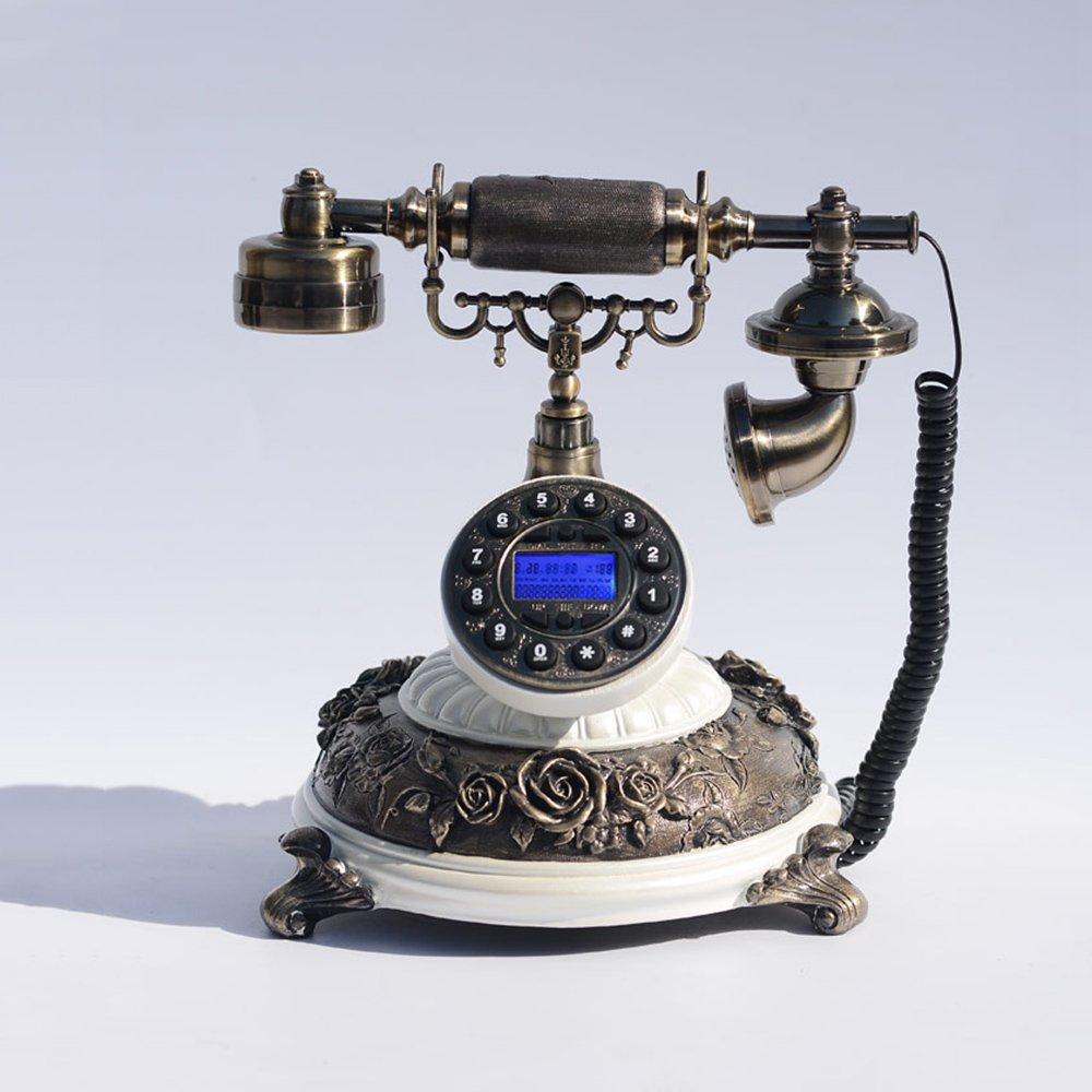YQQ レトロ電話 有線電話 コールストレージ クリエイティブホーム アンティークの固定電話   B07K72HRTT