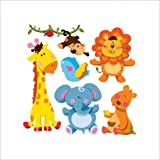 Cartoon Cute Animals Wall Sticker Jungle Theme Kids Wallpaper Decal Sticker Waterproof