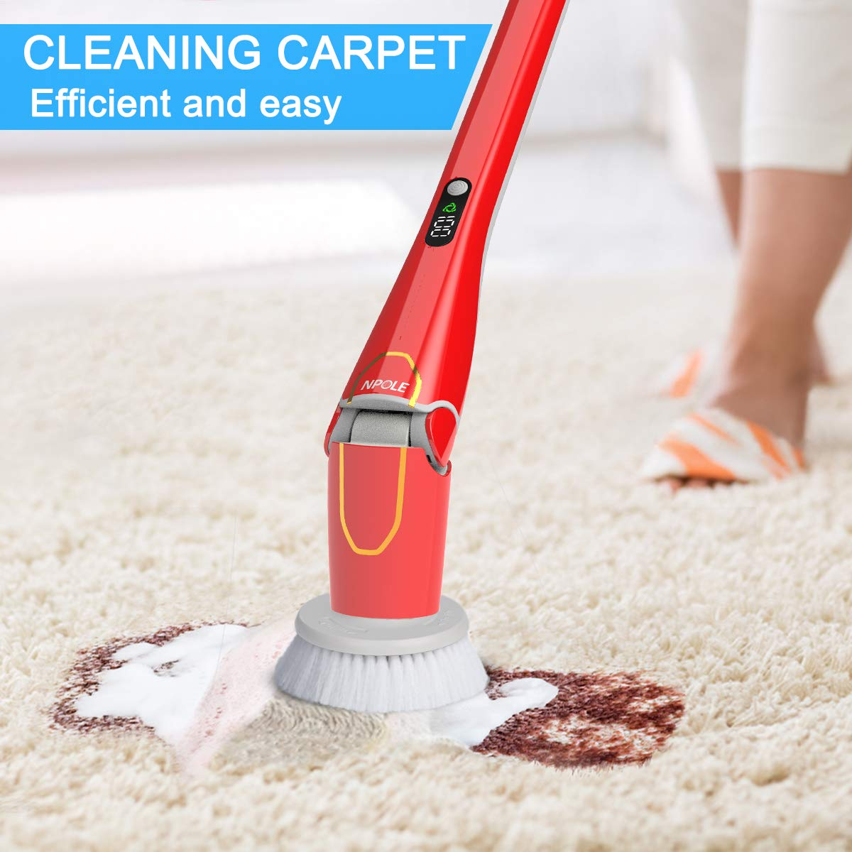 NPOLE Spin Scrubber IPX 7 Waterproof High Speed at 280r/m Power Cordless Spin Mop for Bathroom,Car,Kitchen,Floor,Wall,Tub Cleaner (Spin Scrubber)-RED by NPOLE (Image #2)