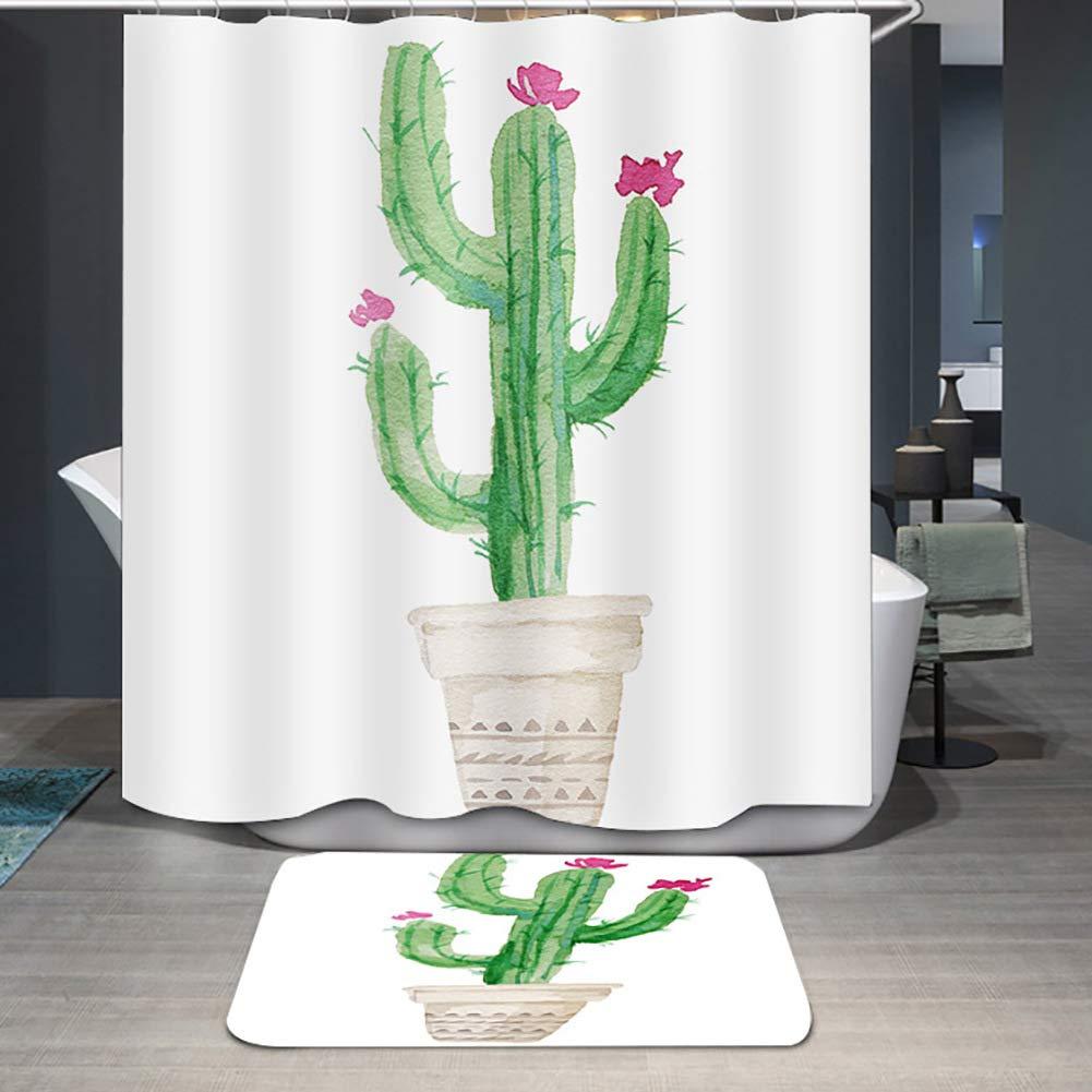 DBHUAV Grüne Kaktus Duschvorhänge Pflanzenbad Vorhänge Vorhänge Vorhänge Wasserdichte Polyester Anti Mildew Duschvorhang Bodenmatte Badteppiche Badezimmer Matten für Kinder B07L2W4C7S Vakuum-Platzsparer d22134