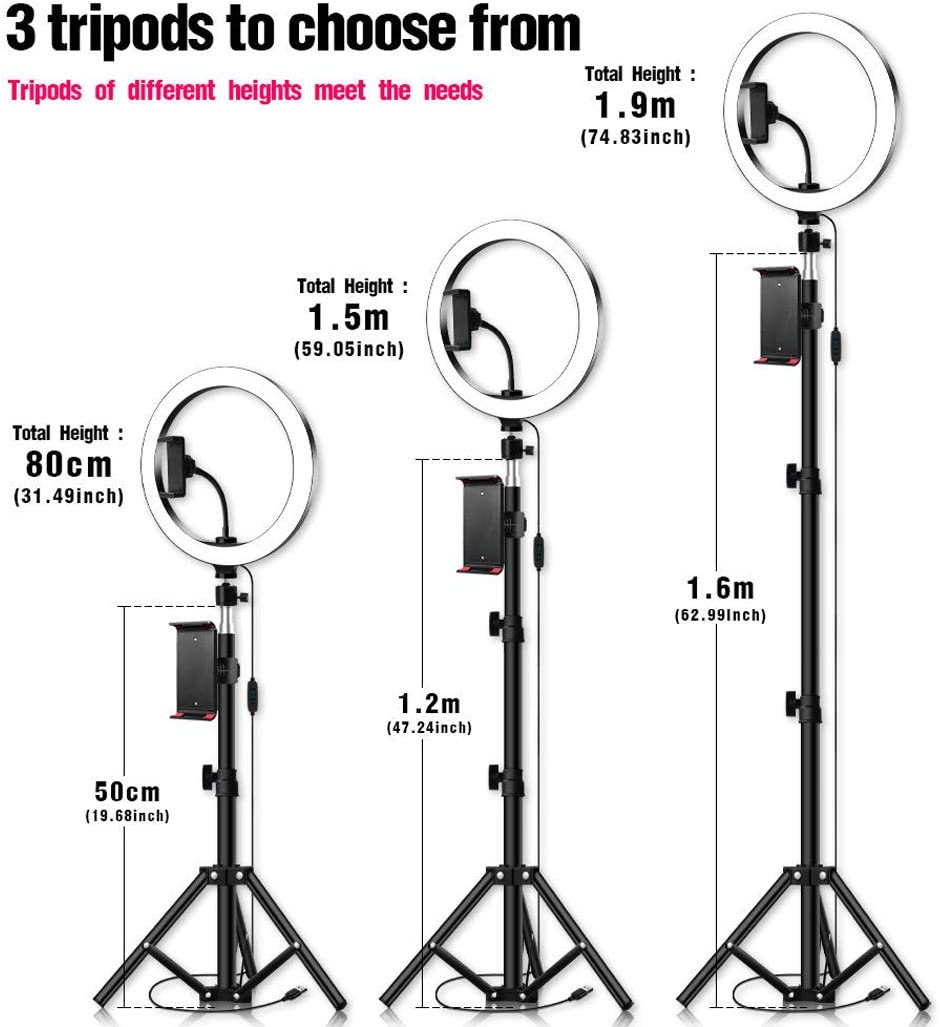 MALPYQB Self-Timer LED Ring Light with Adjustable Tripod Stand and Mobile Phone Holder for Outdoor Bedroom Office Kitchen Bathroom,0.5x26cm