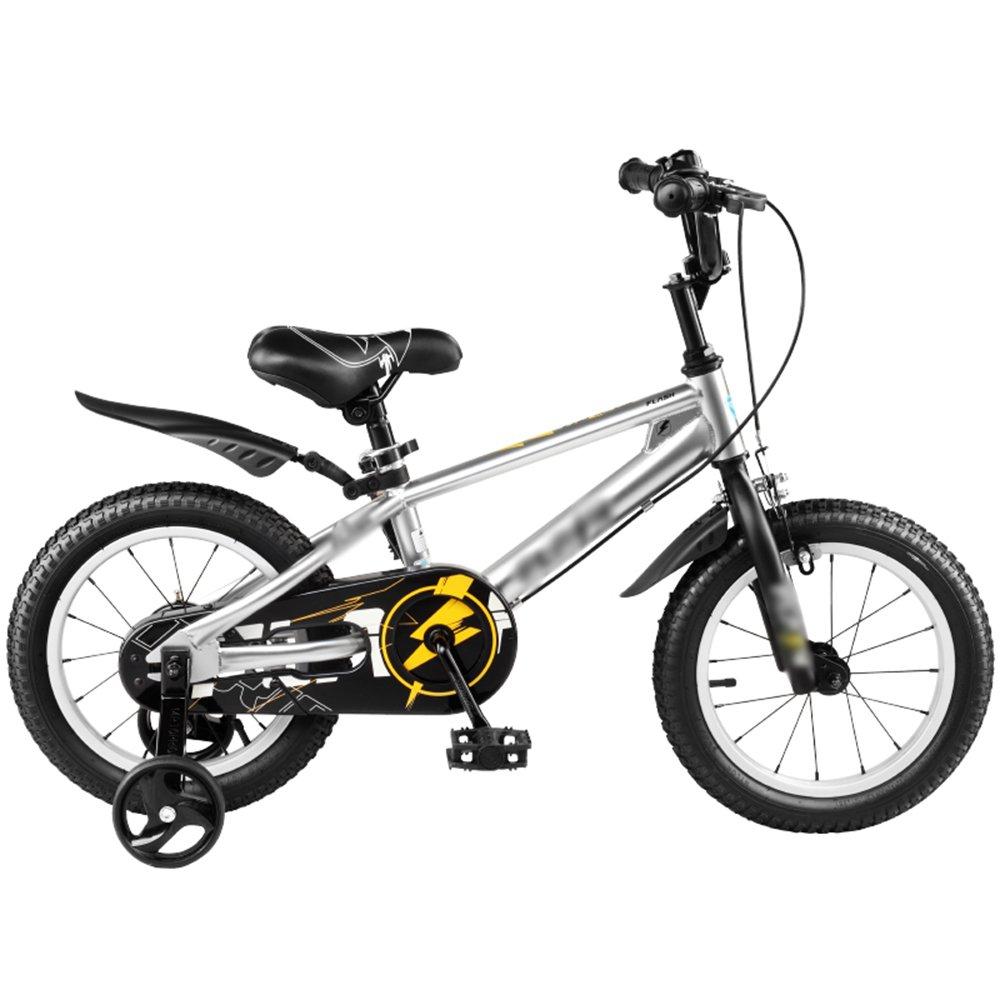 HAIZHEN マウンテンバイク 子供用自転車ベビーキャリッジ12/14/16/18インチマウンテンバイクブルーシルバーグリーン環境保護材料ファッションセキュリティ 新生児 B07CCKFRVM 14 inch|シルバー しるば゜ シルバー しるば゜ 14 inch