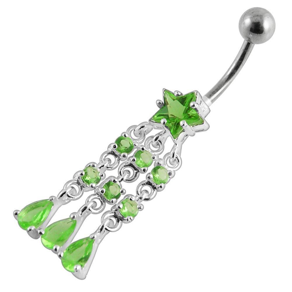Silver Belly Rings CZ Gemstone Chandelier Star with Teardrop Dangling 925 Sterling Body Jewelry