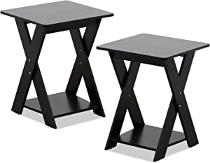 FURINNO Modern Simplistic End Table Set, 2-Pack, Espresso