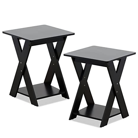 7df5221ce1eed5 Amazon.com: Furinno 2-16050EX Modern Simplistic End Table Set, 2-Pack,  Espresso: Kitchen & Dining