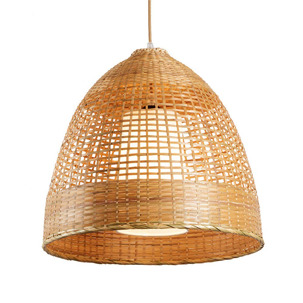 TopDeng Moderno Cableado Lámpara colgante, Bambú Tejido ...
