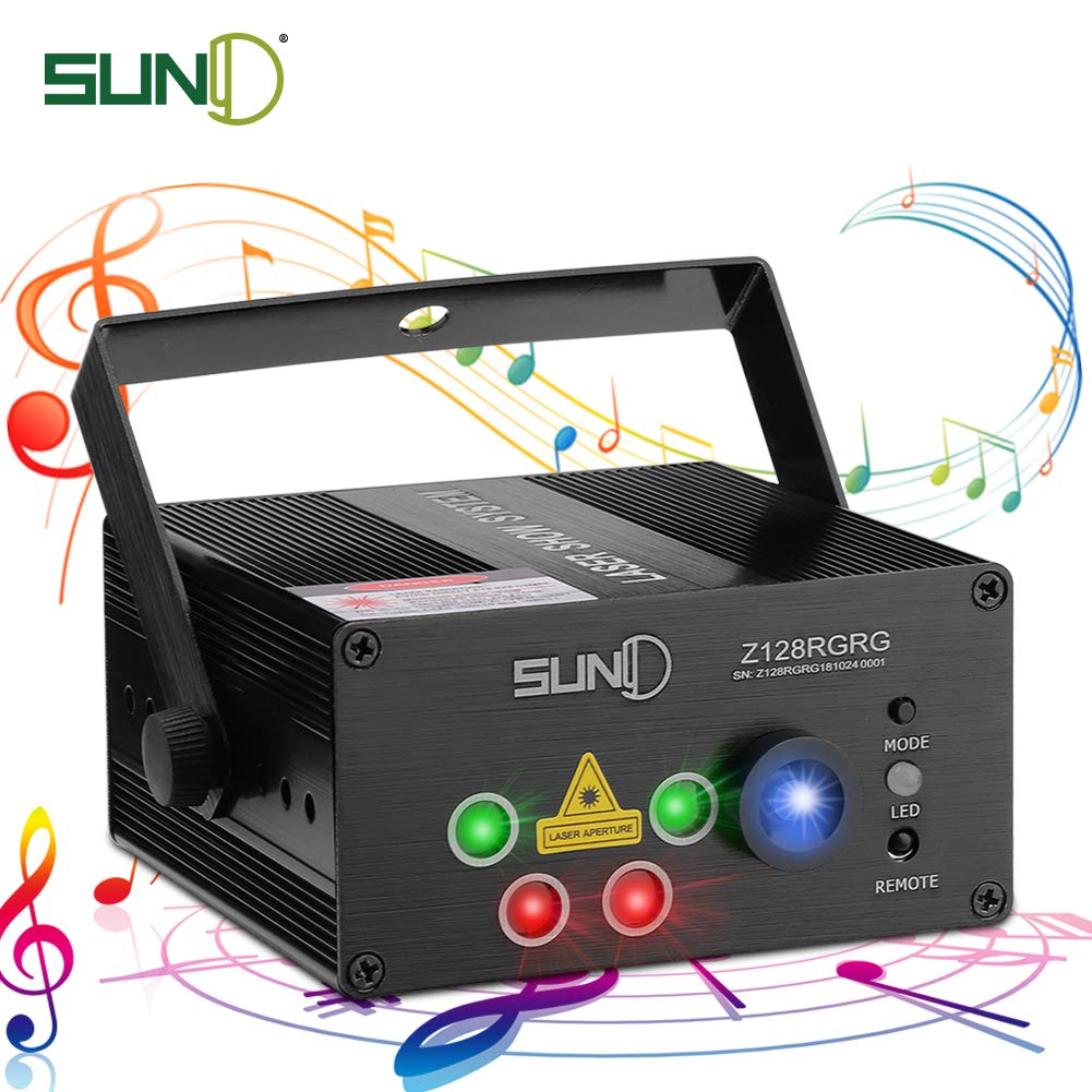 SUNY Party Stage Lights, Sound Activated Music Laser Projector 128 Combinations 5 Lens Gobos Laser Lighting Blue LED Remote Stage Lighting Red Green DJ Live Light Show Disco Party Dance Home Holiday by SUNY