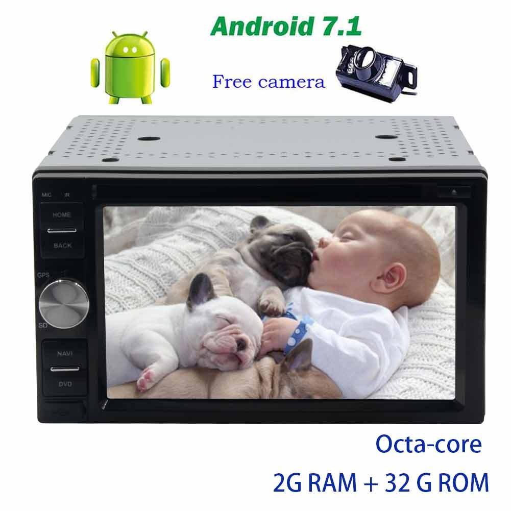 バックアップカメラ+アンドロイド7.1オクタコアダッシュGPSナビゲーションBluetoothのサポート無線LAN、4G / 3G用ステアリングホイールコントロールUSBでautoradioカーDVDプレーヤー7 PCシステムユニット/ SD FM AMラジオRDS B0778JQVFH