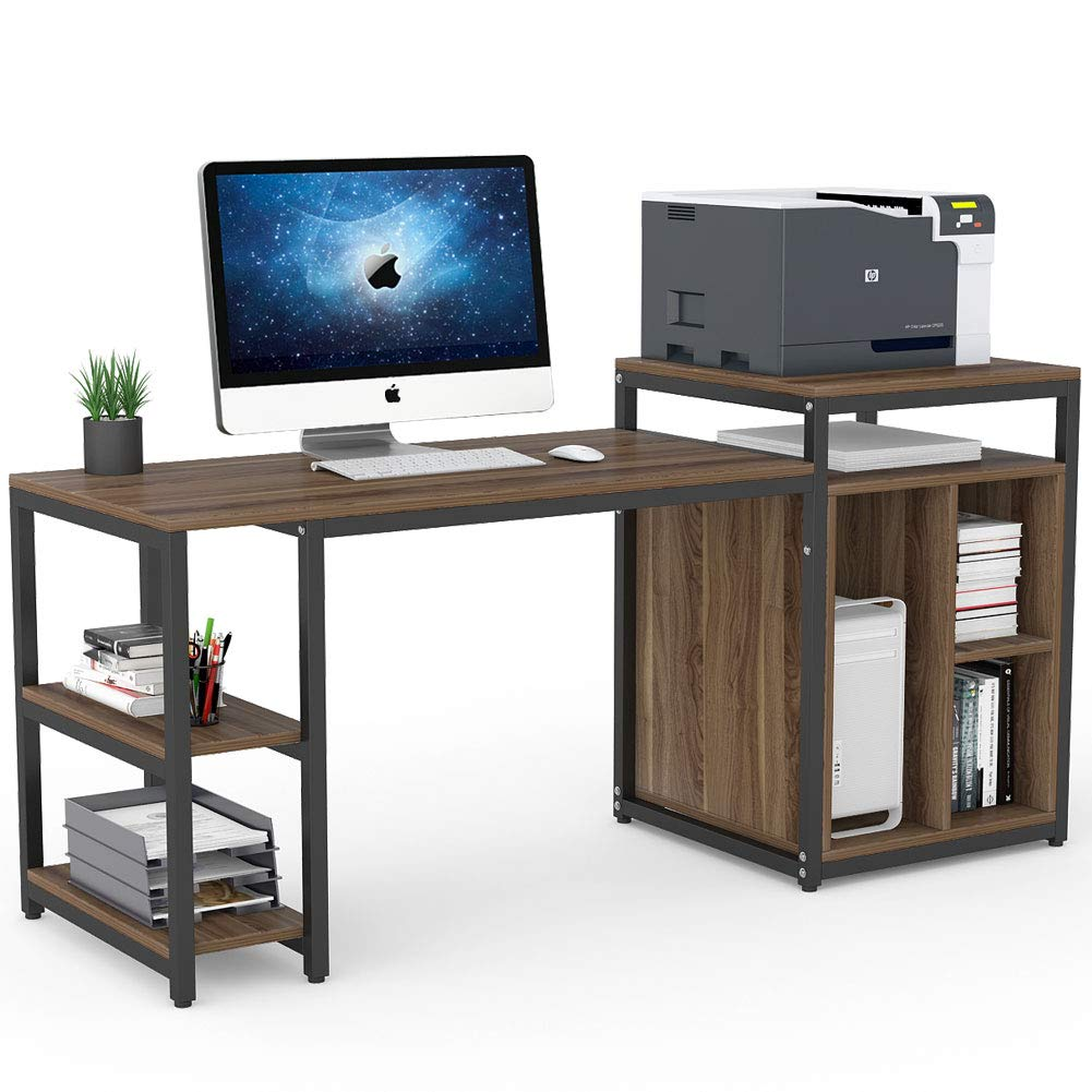 Tribesigns Computer Desk with Storage Shelf, 47 inch Home Office Desk with Printer Stand & 23 inch Bookcase, Writing PC Table with Space Saving Design (Dark Walnut) by Tribesigns