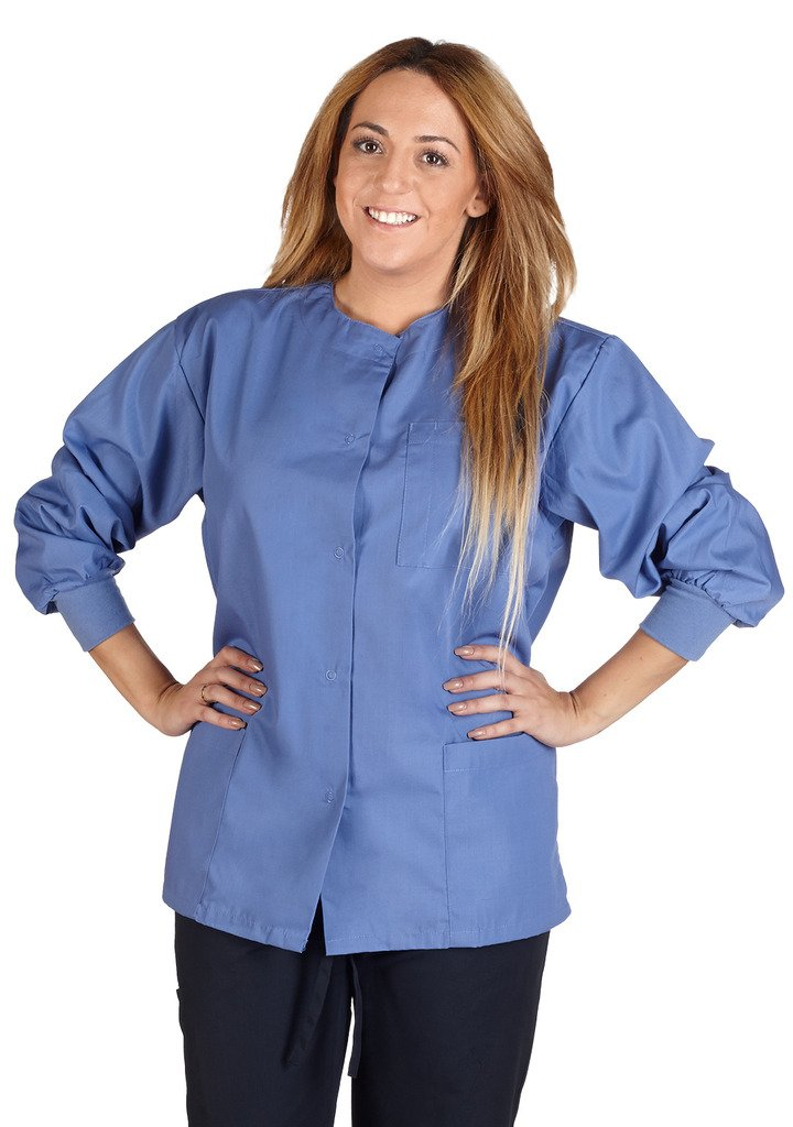 M&M Scrubs Women's Scrub Jacket Medical Scrub Jacket M Ceil blue