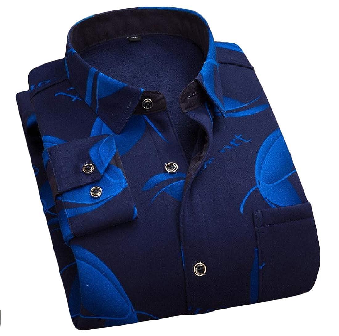 YUNY Mens Grid Plus Velvet Leisure Tops Fashion Button-Down-Shirts 19 XL