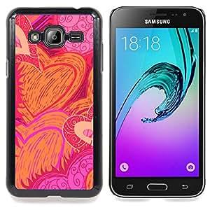 - heart hand drawn sun flames love pink - - Modelo de la piel protectora de la cubierta del caso FOR Samsung Galaxy J3 RetroCandy
