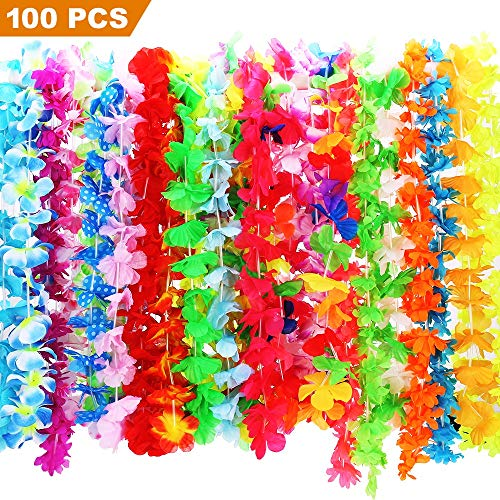 CXWILL Hawaiian Leis 100 Pcs Tropical Hawaii Luau Flower Leis for Adults and Kids Party Favors (Colorful)]()