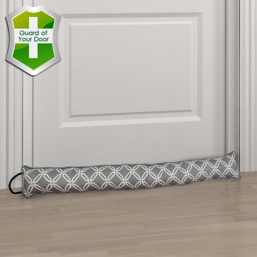 Gravan Under Door Draft Stopper Door Sealing Blocker, Heavy Duty Soundproof, Energy Saving & Weather Stripping, Window Draft Guard Protector (Grey Plaid)